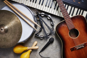 Range of different musical instruments