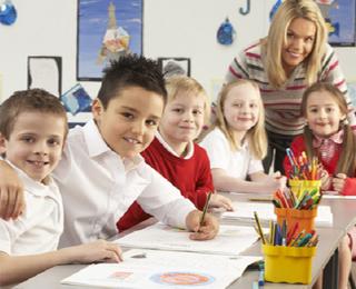 School children and their teacher