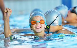 Virtual swimming header